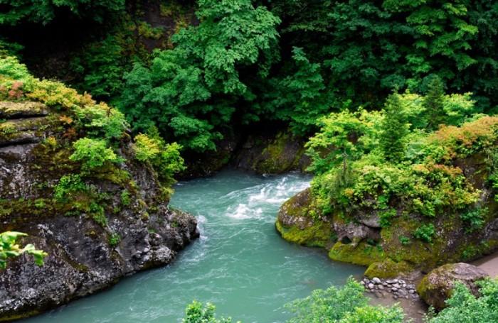 Горная река парка Мтирала, камни