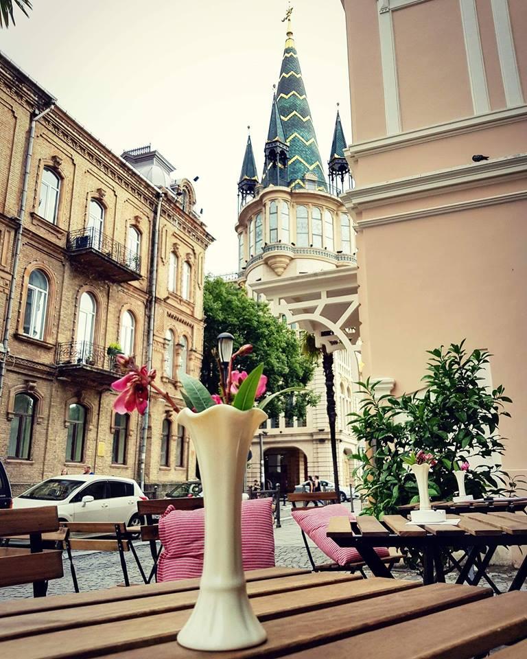 Cozy veranda of Basil Specialty Coffee and Wine Bar in Batumi